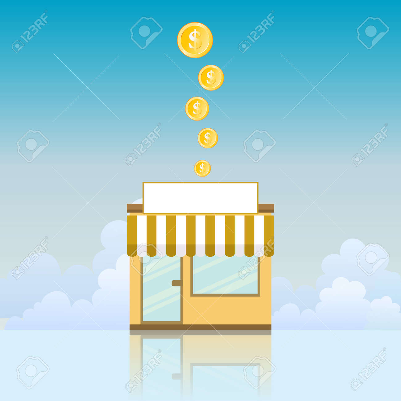 illustration of a small store yielding gold coins. Stock Vector - 15831102