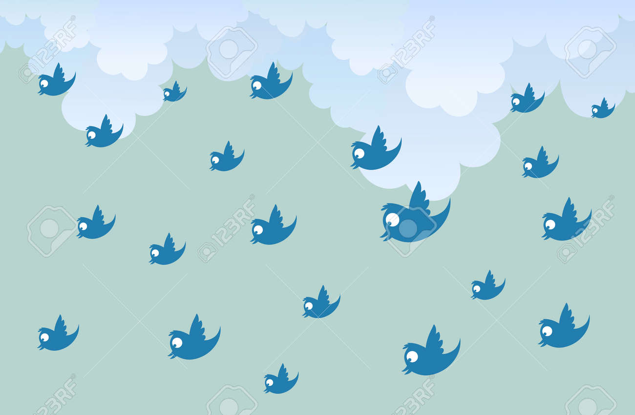 illustration of numerous tweets raining down from the sky. Stock Vector - 15958346