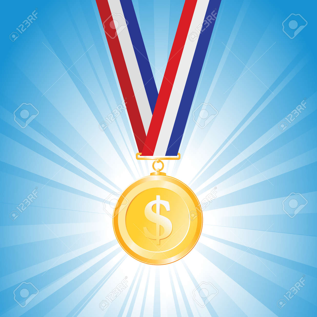 illustration of a medal with golden dollar coin Stock Vector - 16097297