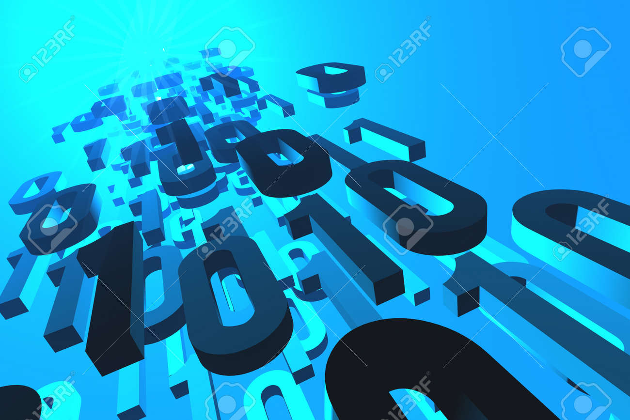 3d illustration of binary numbers flowing from or to the glowing source or destination. Stock Photo - 16587509