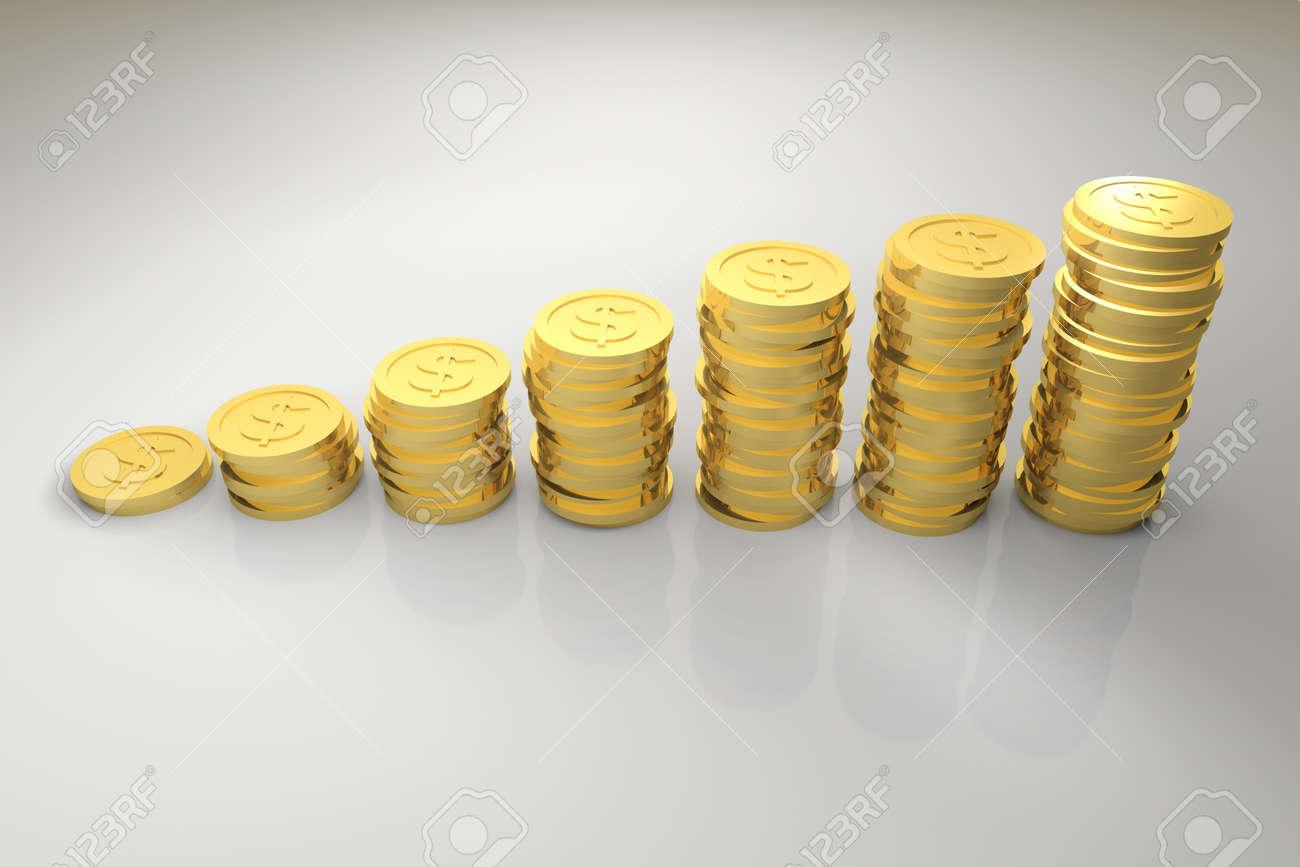 3d Render Von Gold Dollar Münze Graph Diagramm Lizenzfreie Fotos