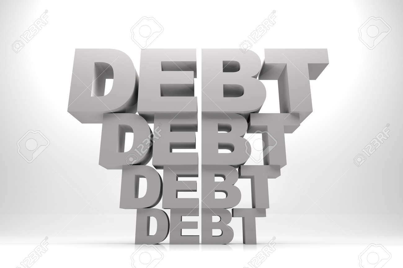 3d render illustration of words of debt in stack one after another. Stock Photo - 17201150