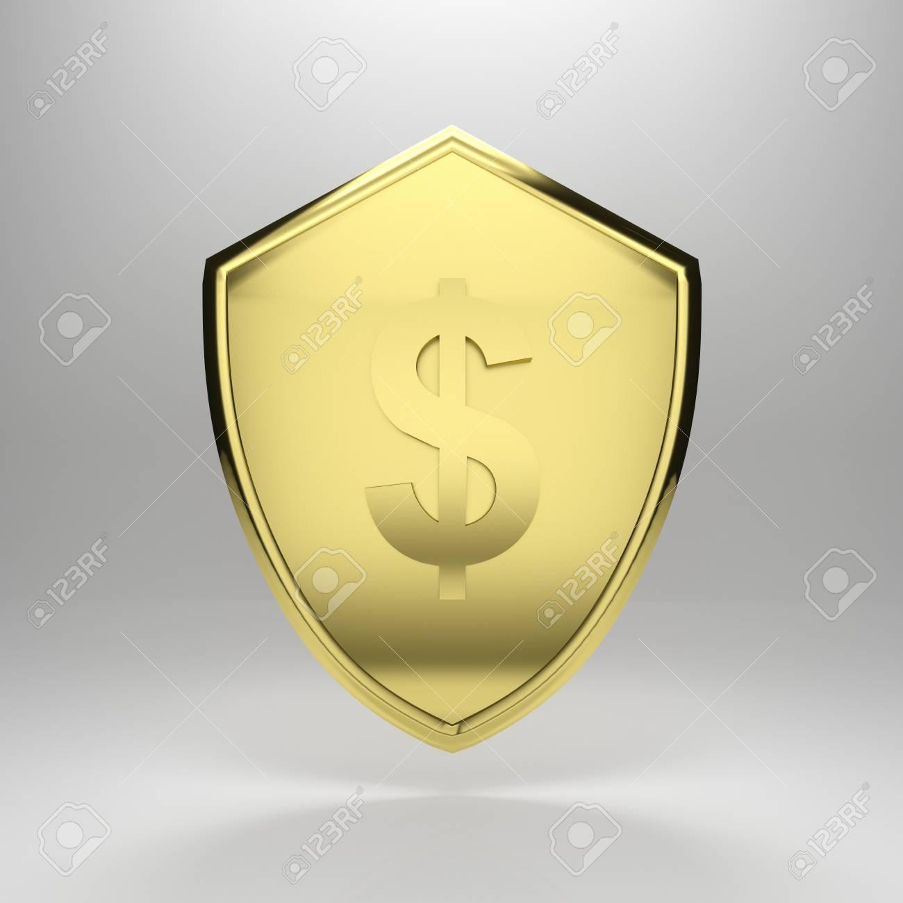3d render illustration of a golden dollar shield. Stock Illustration - 17311771