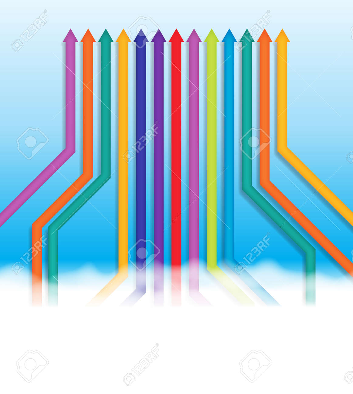 abstract illustration of colorful lines going into the same one direction. Stock Vector - 17747015