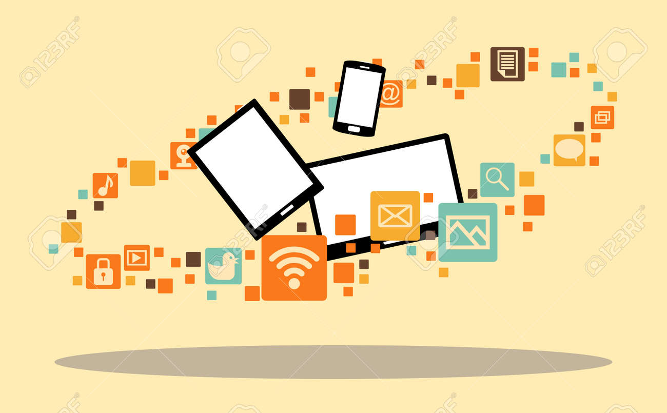 illustration of several multimedia devices surrounded with app icons. Stock Vector - 18092586