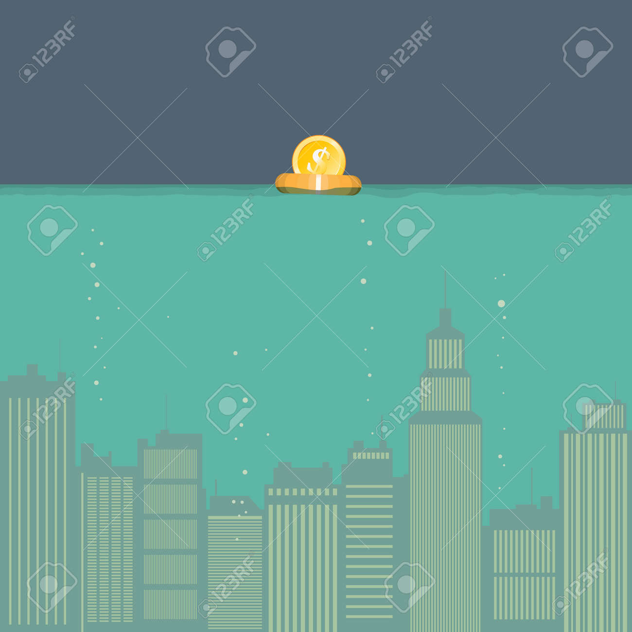 illustration of submerged city with a dollar coin floating on a rescue ring. Stock Vector - 18286761