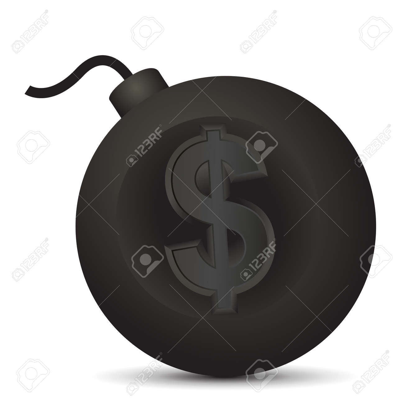 Vector illustration of large round bomb with dollar symbol. Stock Vector - 18854173