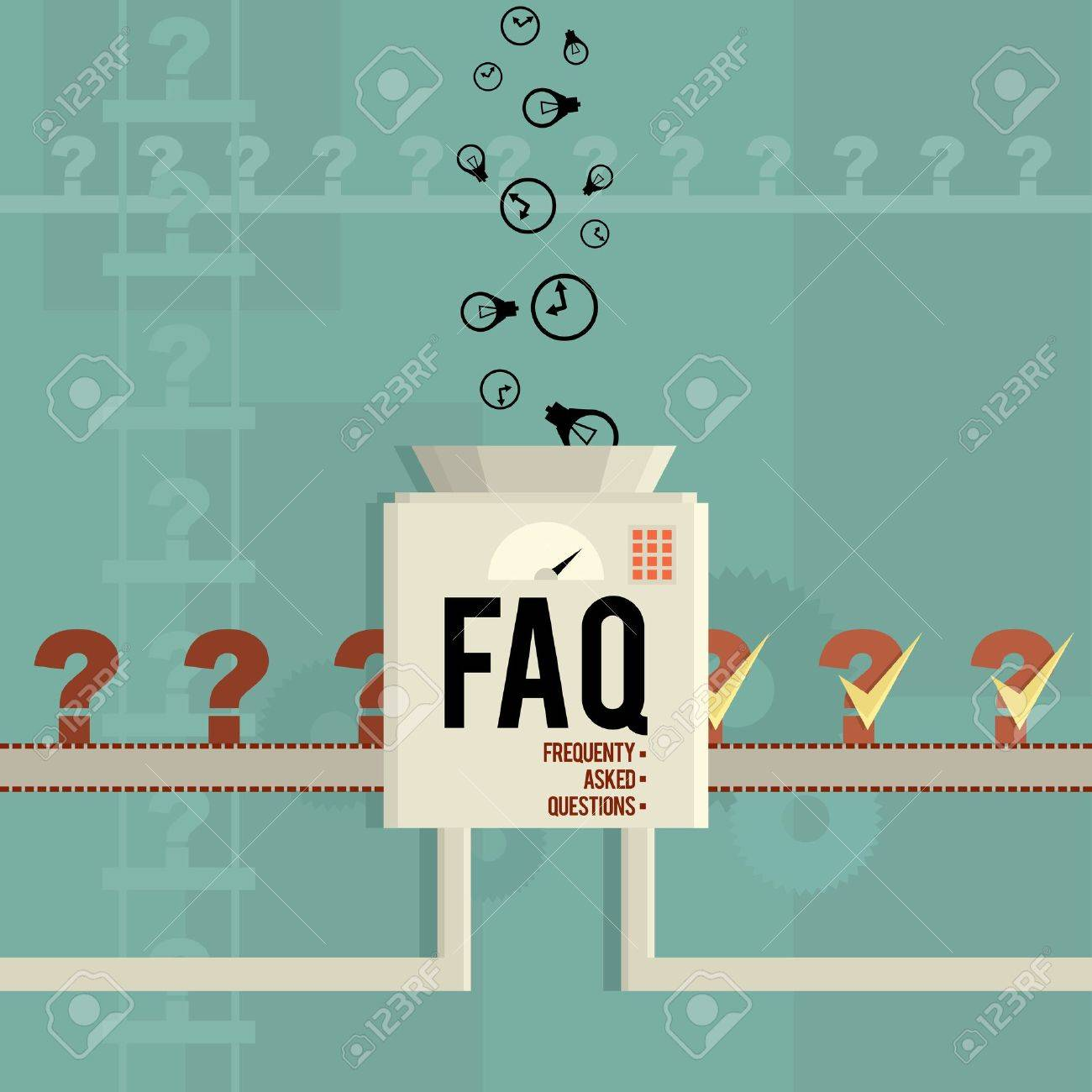 Vector illustration of a FAQ machine answering frequently asked questions Stock Vector - 19429090