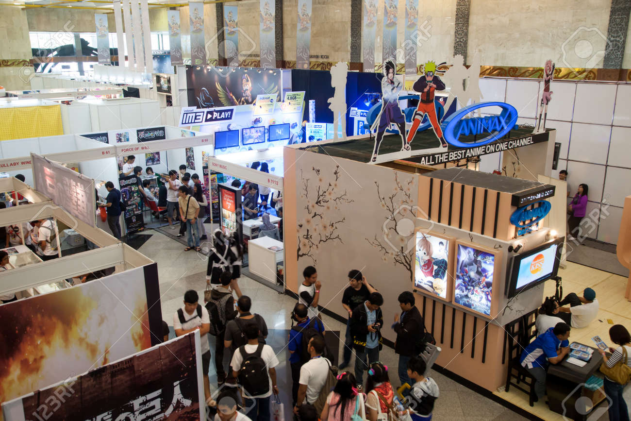 Anime Expo Stands : Jakarta indonesia 8th september 2013: elevated view of several