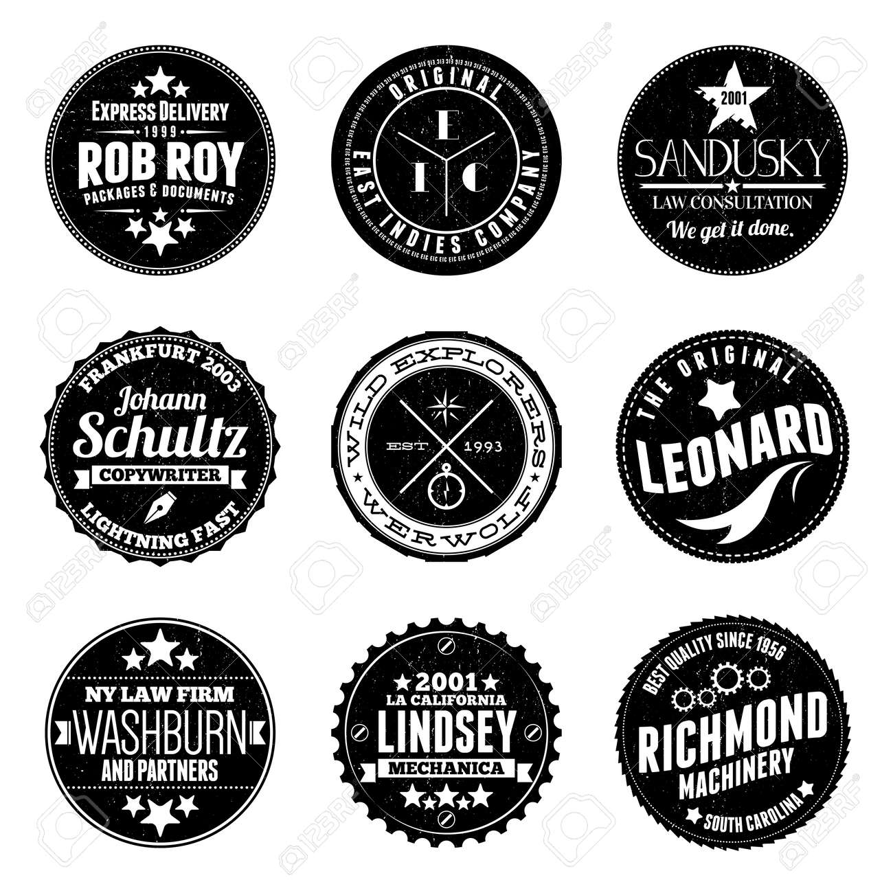 Illustrations Of Various Custom Circular Stamp Badges Stock Vector