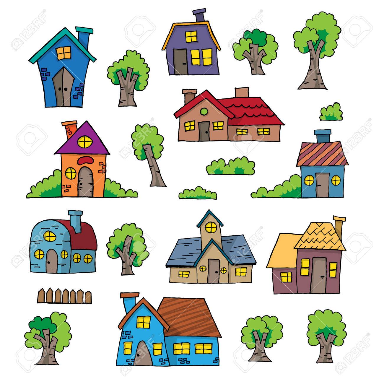 House design cartoon - Illustration Of Cartoon Hand Drawn House Design Element Stock Vector 32601585