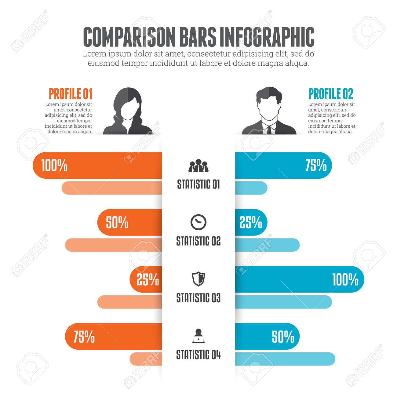 illustration of comparison bars infographic design element royalty