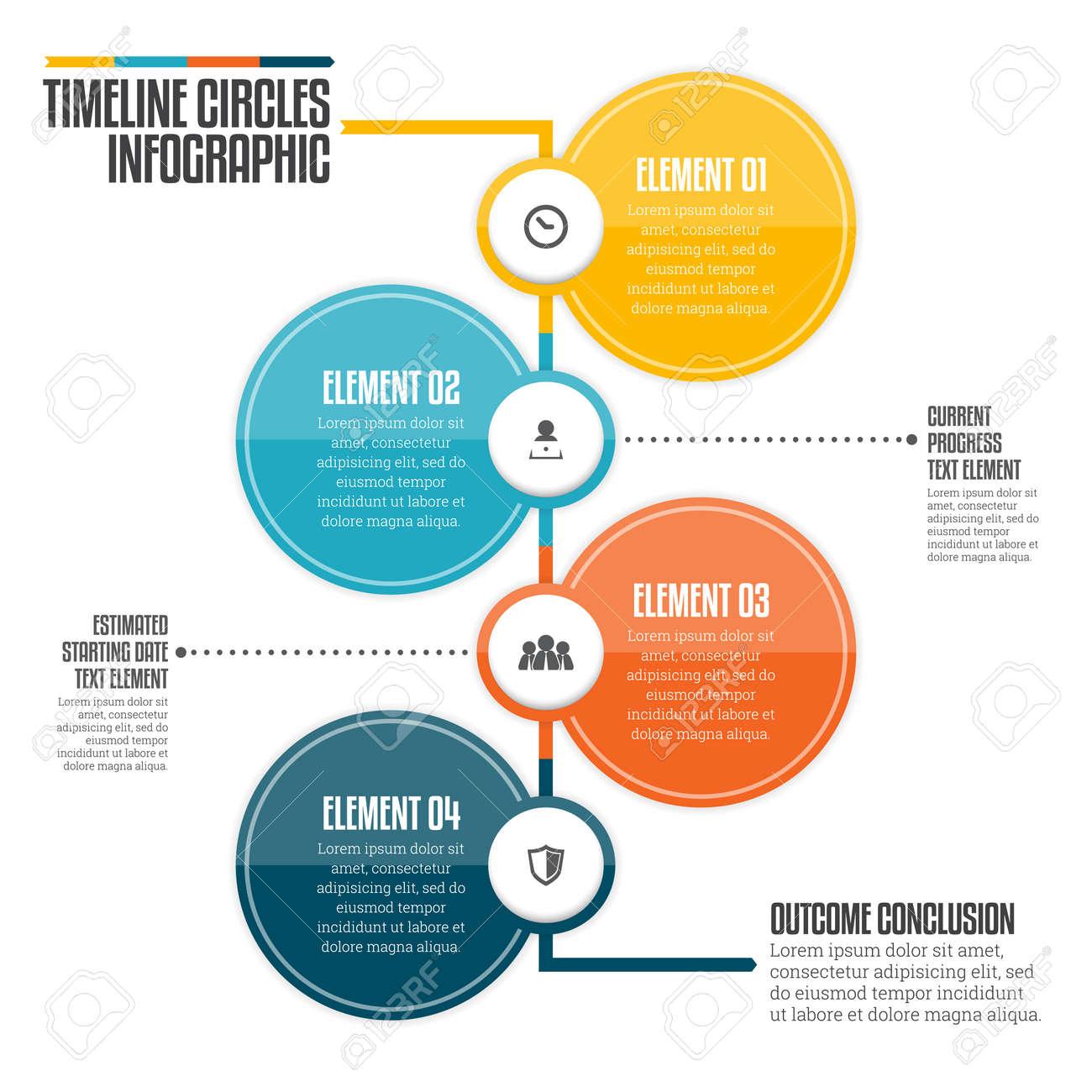 vector illustration of vertical timeline circle infographic design