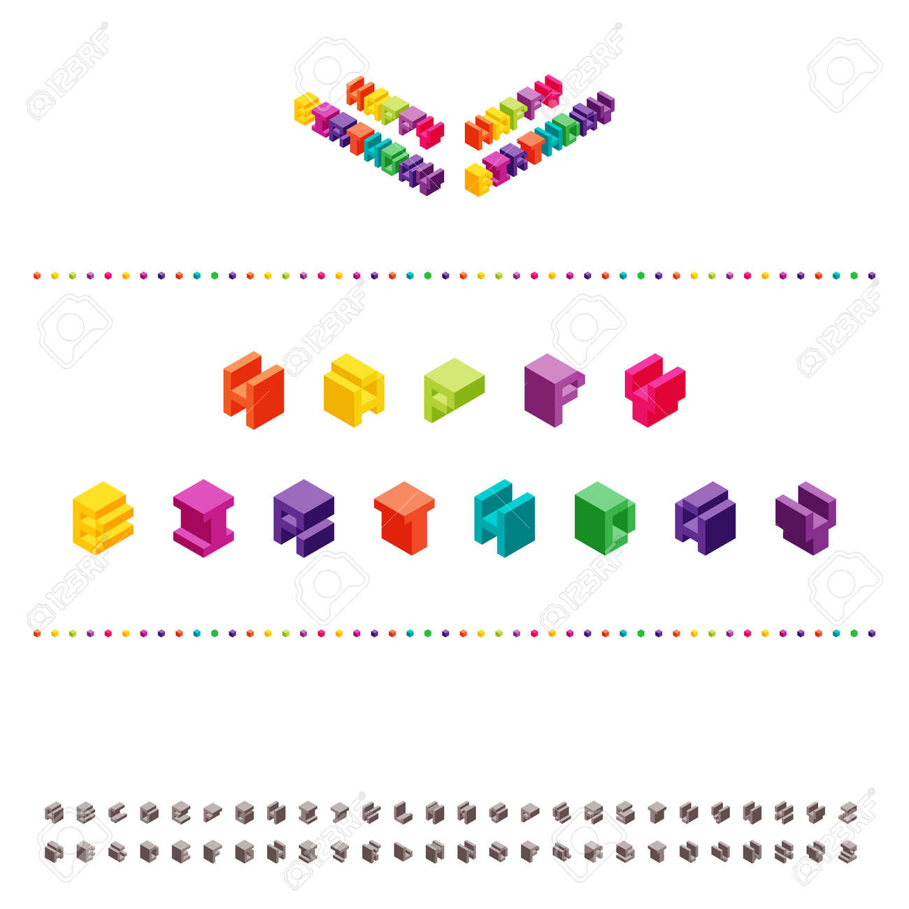 Isometric Pixel Illustration Of Happy Birthday Text Along With