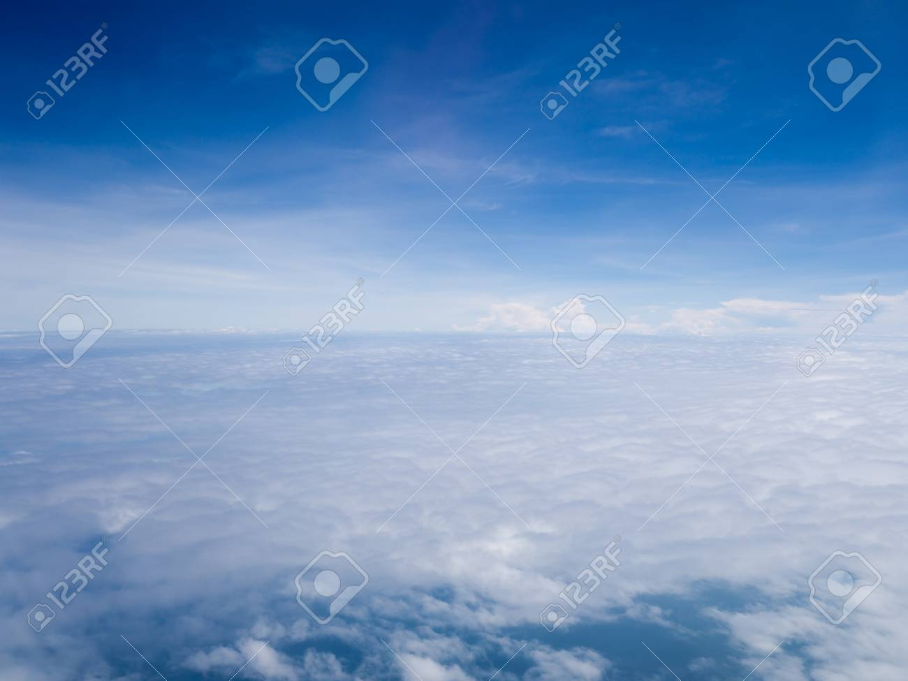 Cool Soft Unique White Cloud And Blue Sky View From Window Of