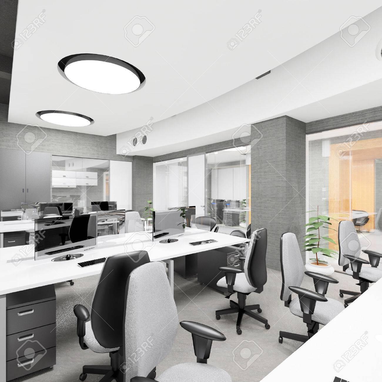 Leere Moderne Büro Interior Arbeitsplatz Visualisierung Lizenzfreie ...