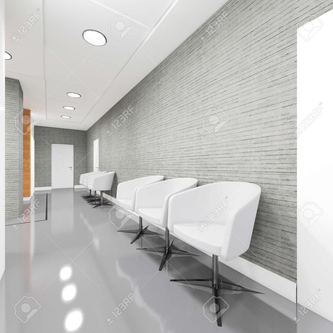 Büroeingangsbereich Interieur Mit Sessel 3d Darstellung Lizenzfreie