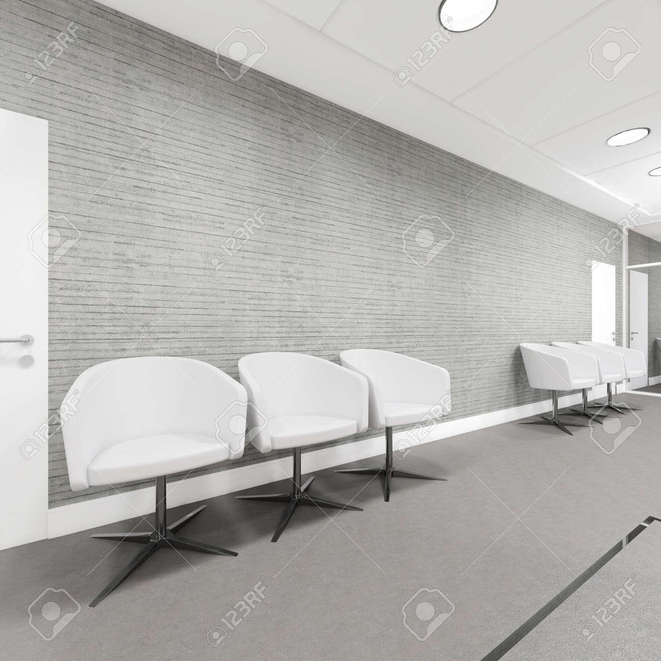 Entrée Bureau Espace intérieur avec fauteuil illustration 3D