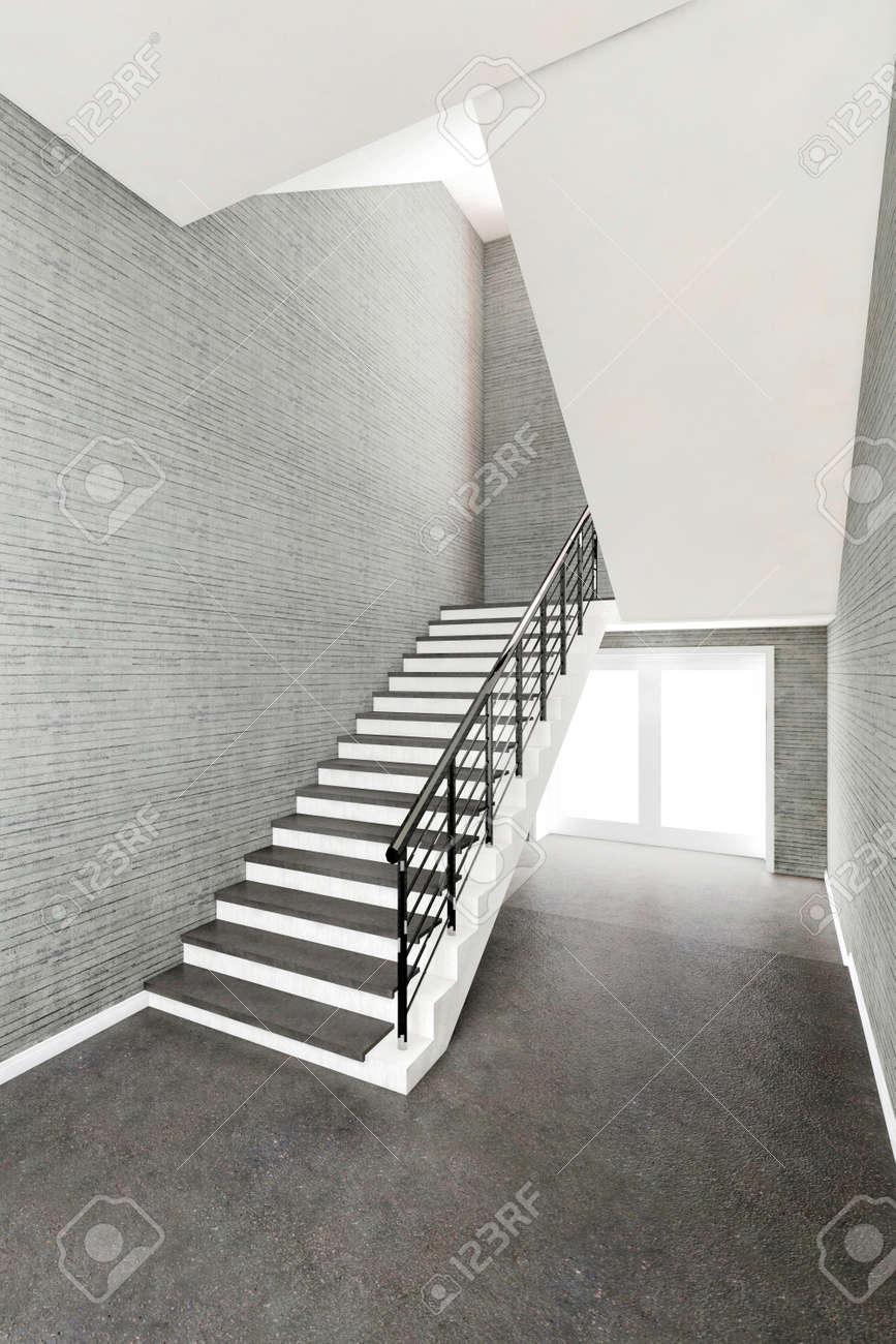 Inter Nouveau Bâtiment, Escalier Mur De Béton Illustration 3D Banque ...