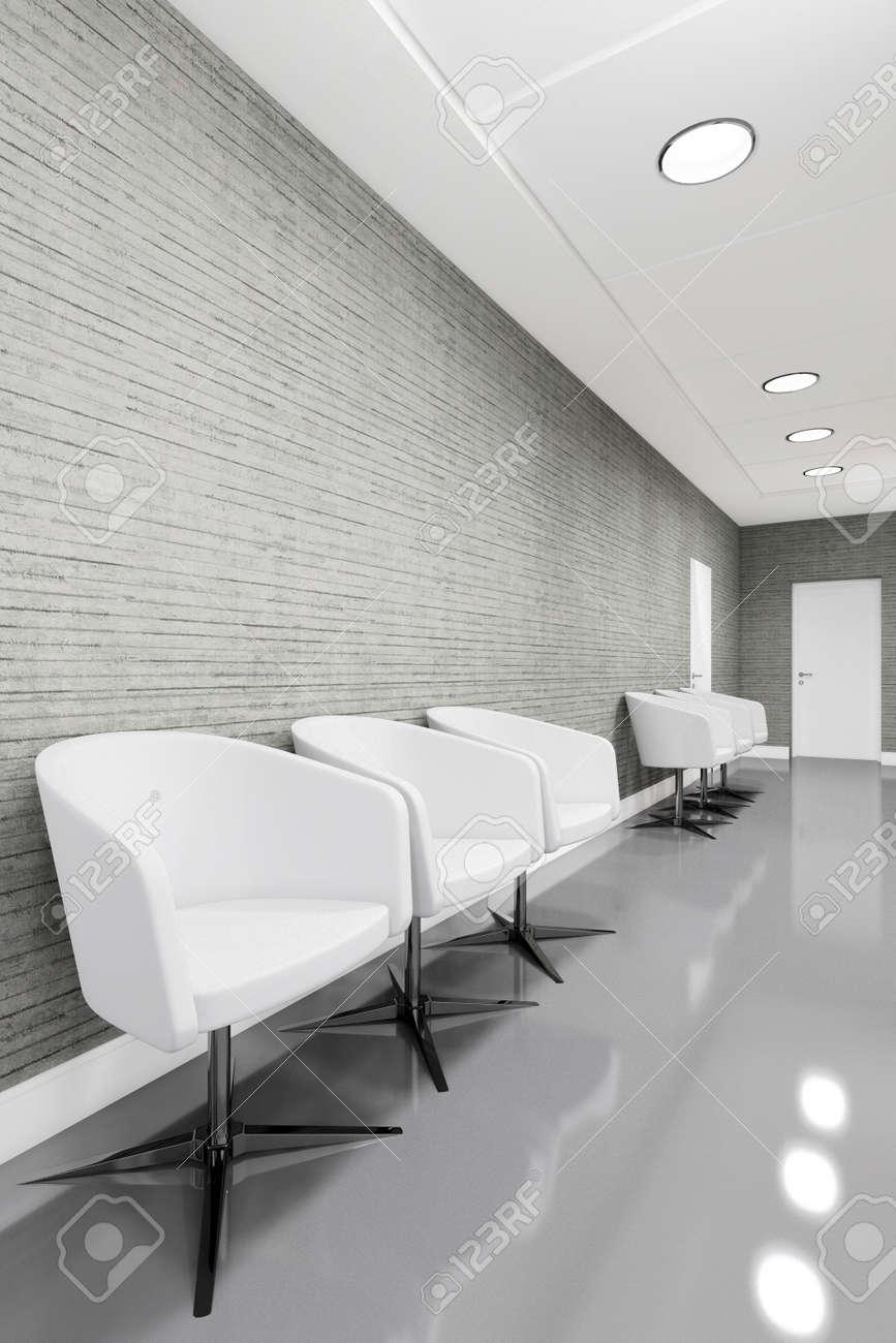 Entrée Bureau Espace inter avec fauteuil illustration 3D