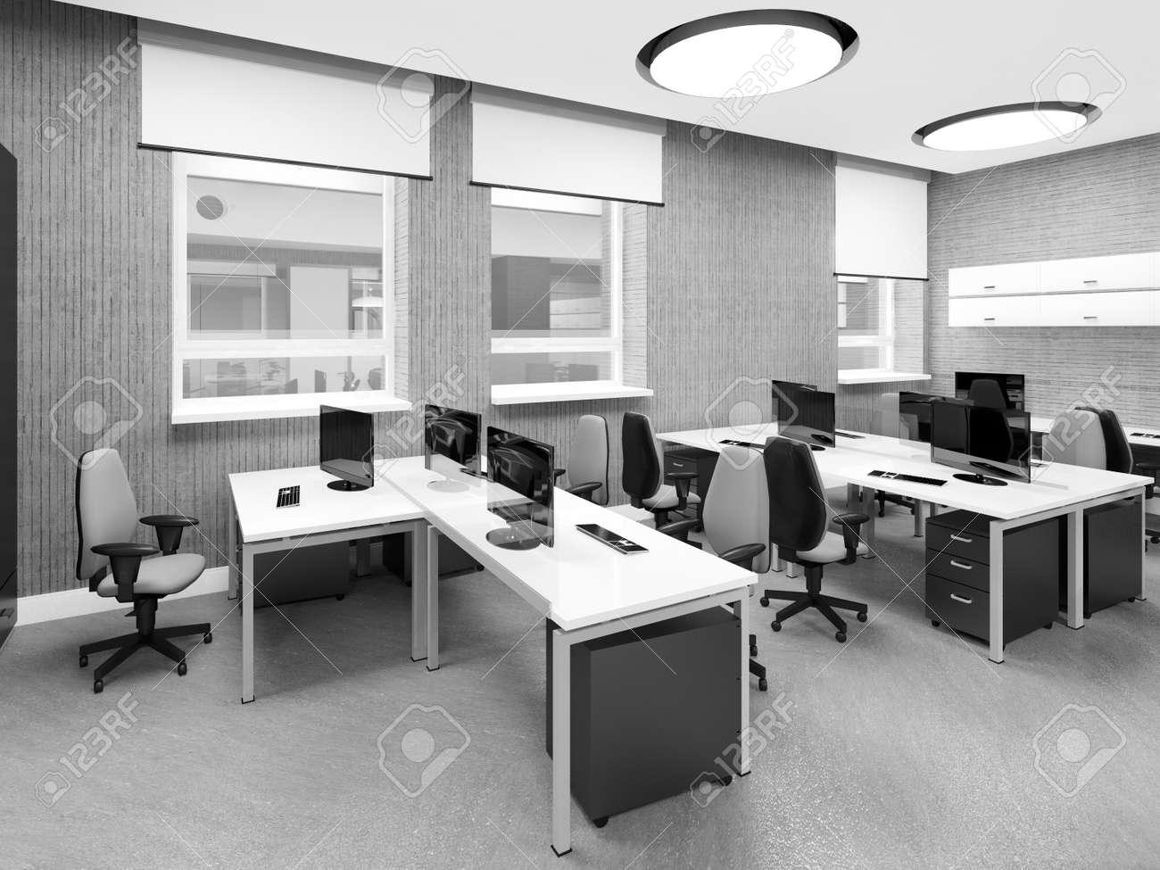 Empty modern office interior work place 3D illustration Stock Illustration - 47863238 & Empty Modern Office Interior Work Place 3D Illustration Stock Photo ...