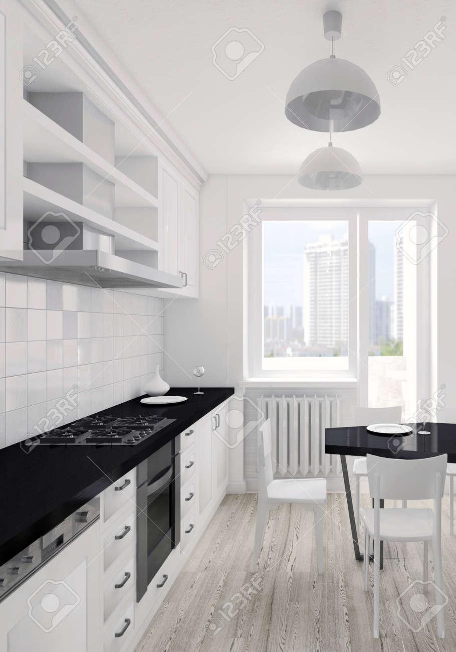 Modernes Interieur Der Küche 3D-Visualisierung Lizenzfreie Fotos ...