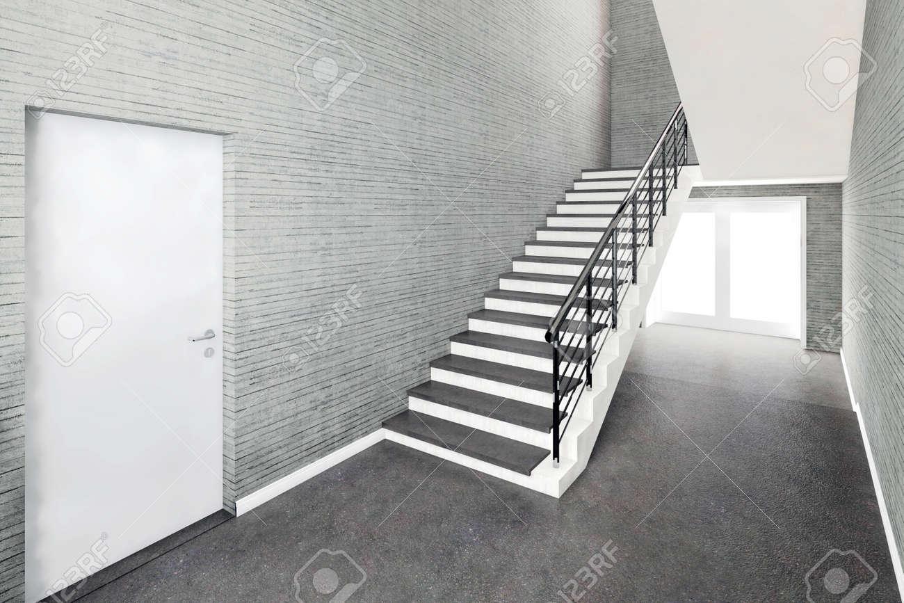 Escalier Interieur Beton Design nouvel intérieur du bâtiment, escalier avec illustration 3d de mur en béton