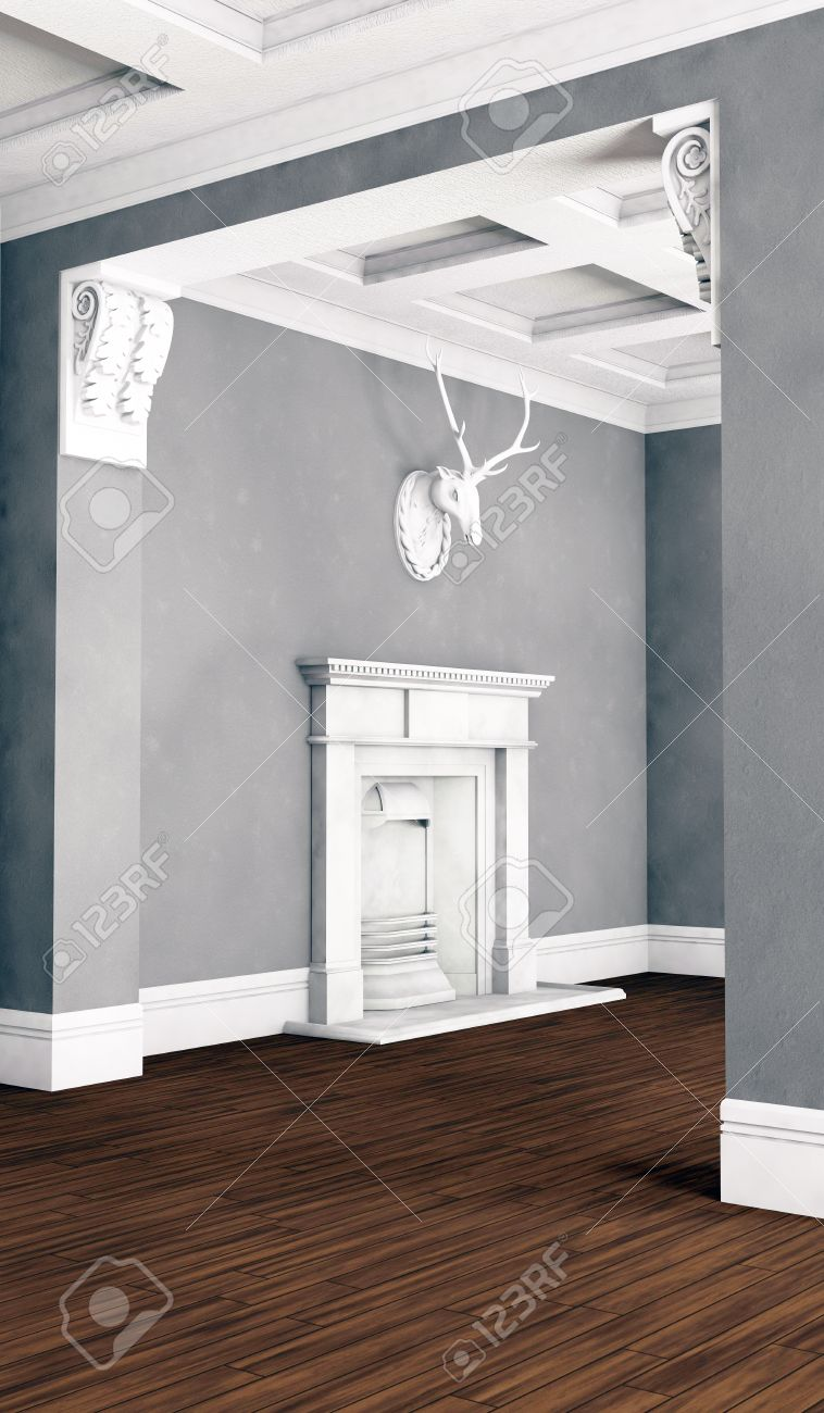 Salon chambre classique intérieur avec plancher de bois franc ...