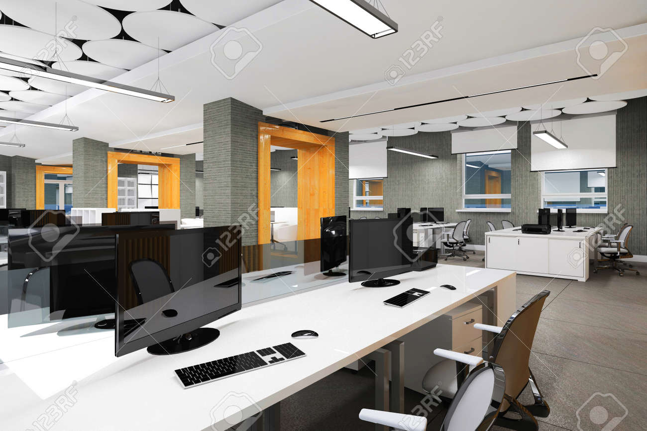 Empty Modern Office Interior Work Place Visualization Stock Photo    103872035