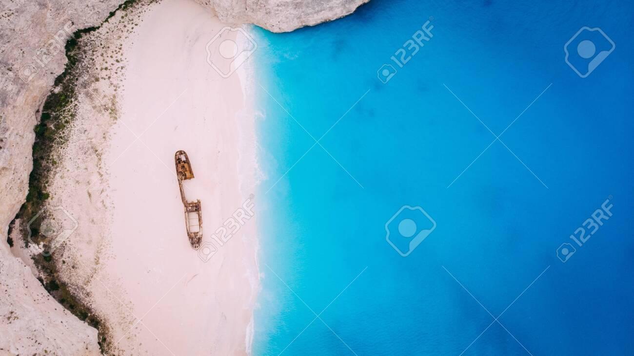 Aerial View Navagio Bay Shipwreck Beach Greece, Zakynthos - 133106086