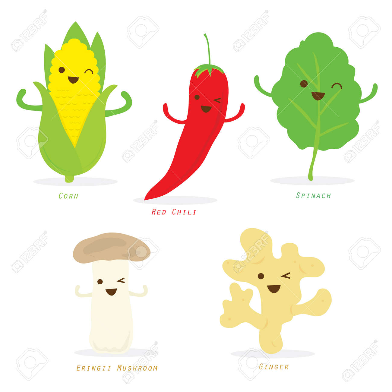 Ginger Desenho within vegetable cartoon cute set red chili corn spinach ginger eringii