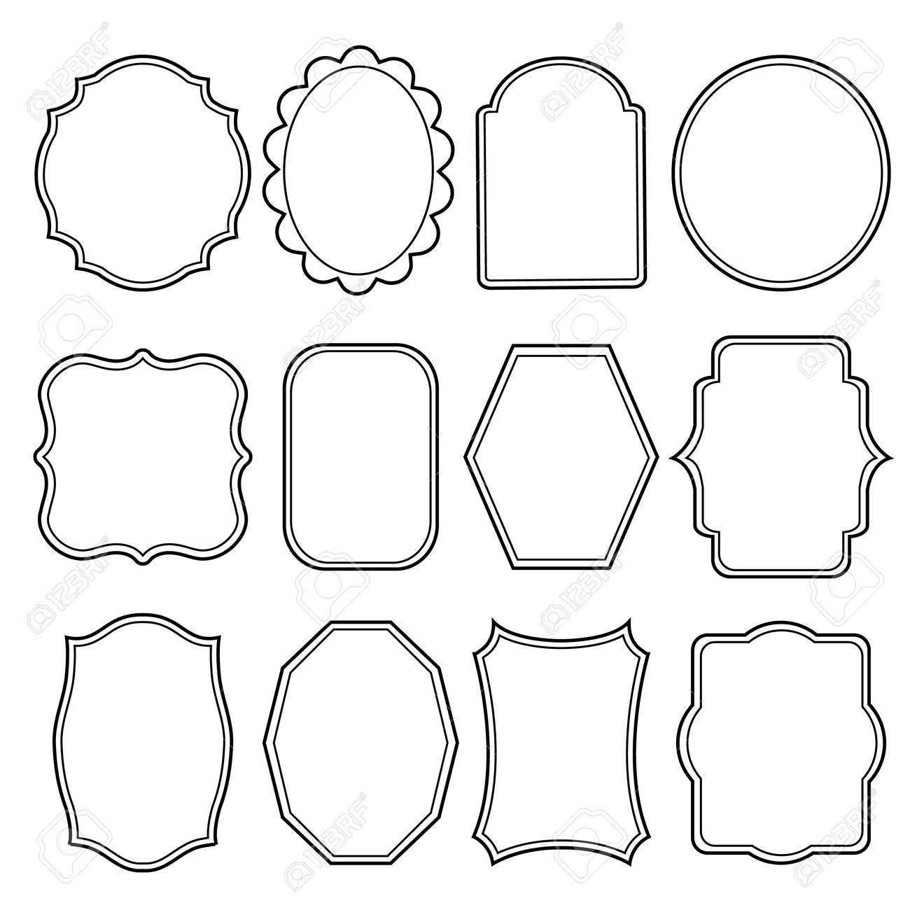 blank frame and label mega set vintage retro vector illustration stock vector 43924247