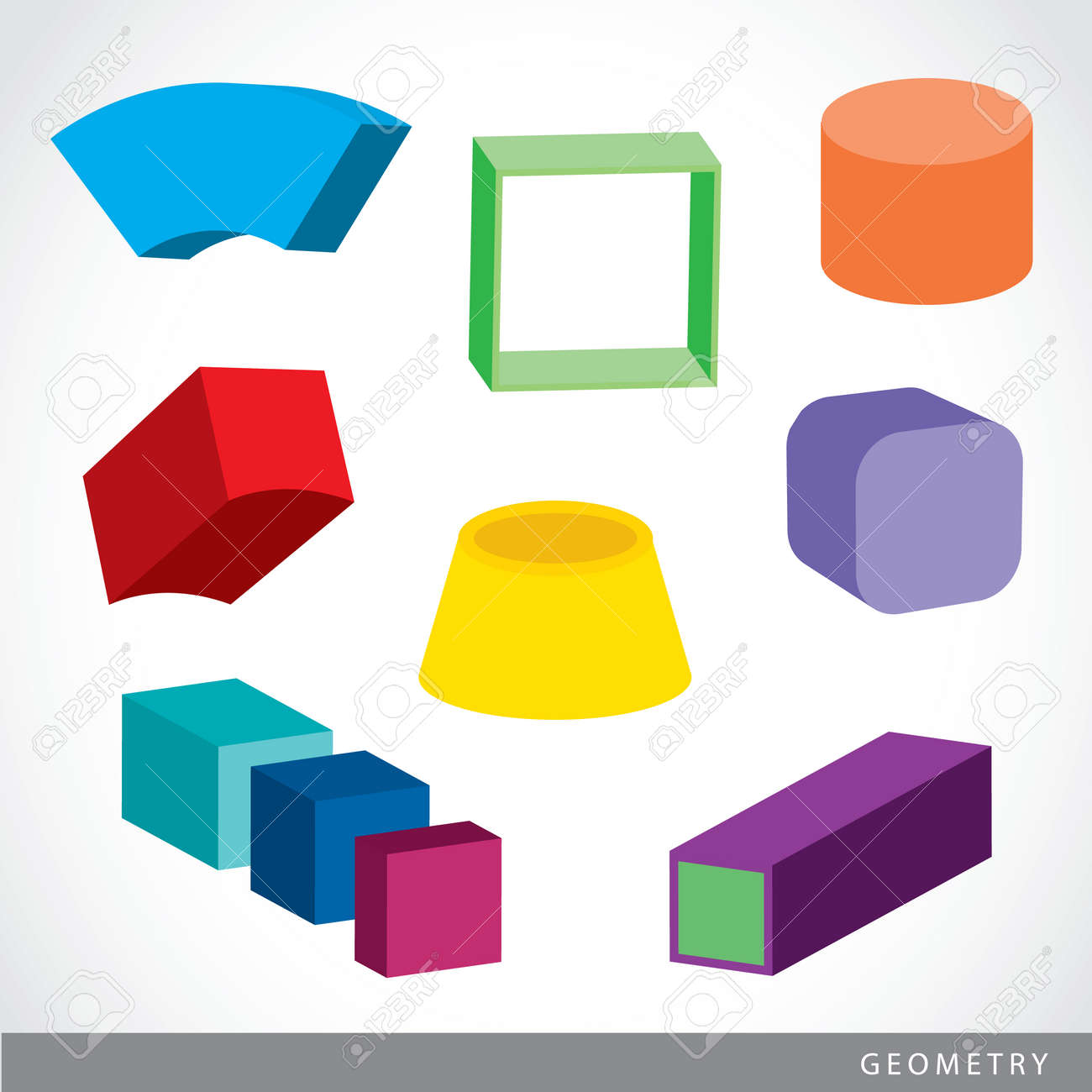Colorido Conjunto De Formas Geométricas, Sólidos Platónicos ...