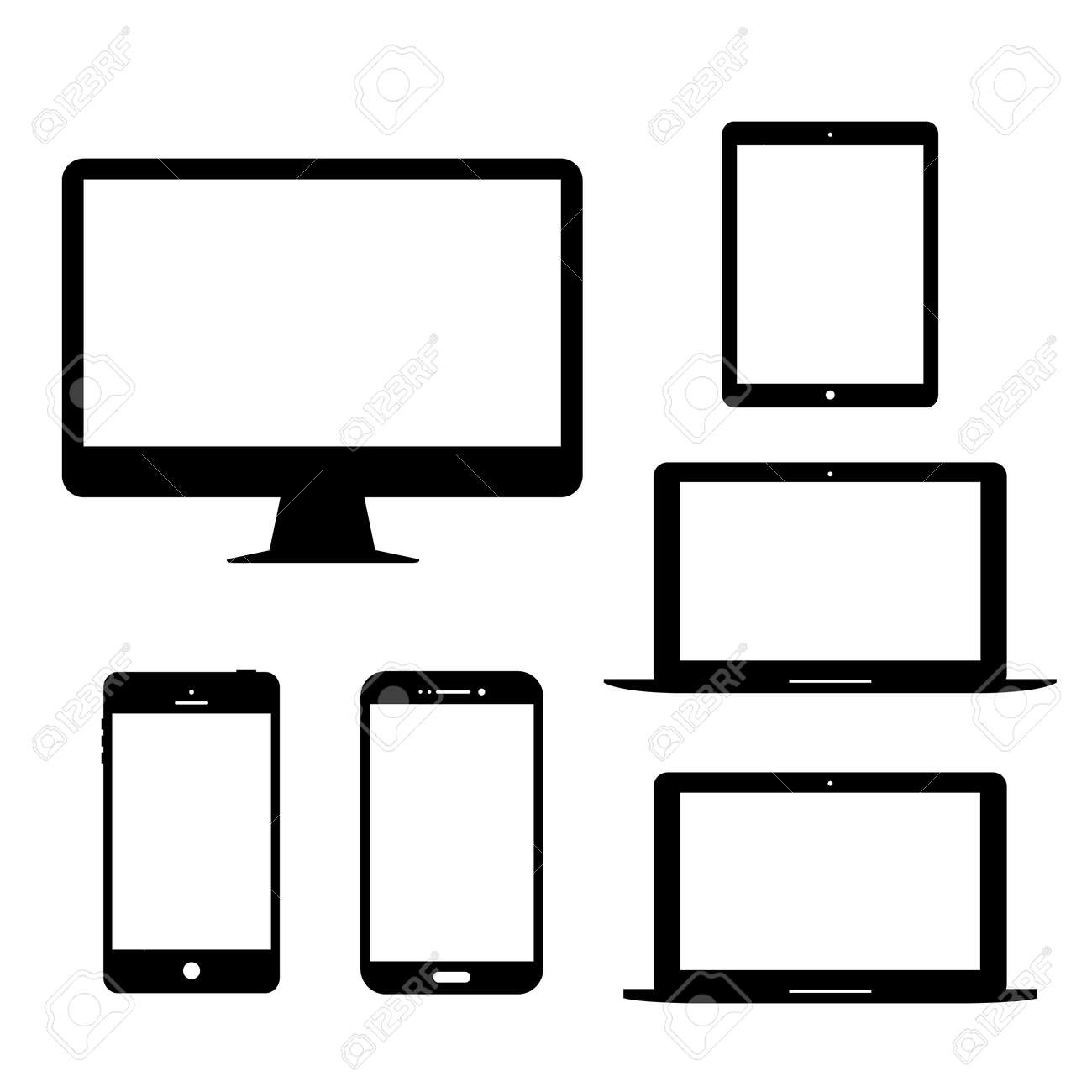 Computer monitor laptop tablet Mobile Phone Electronic gadgets Vector Icon - 50375000