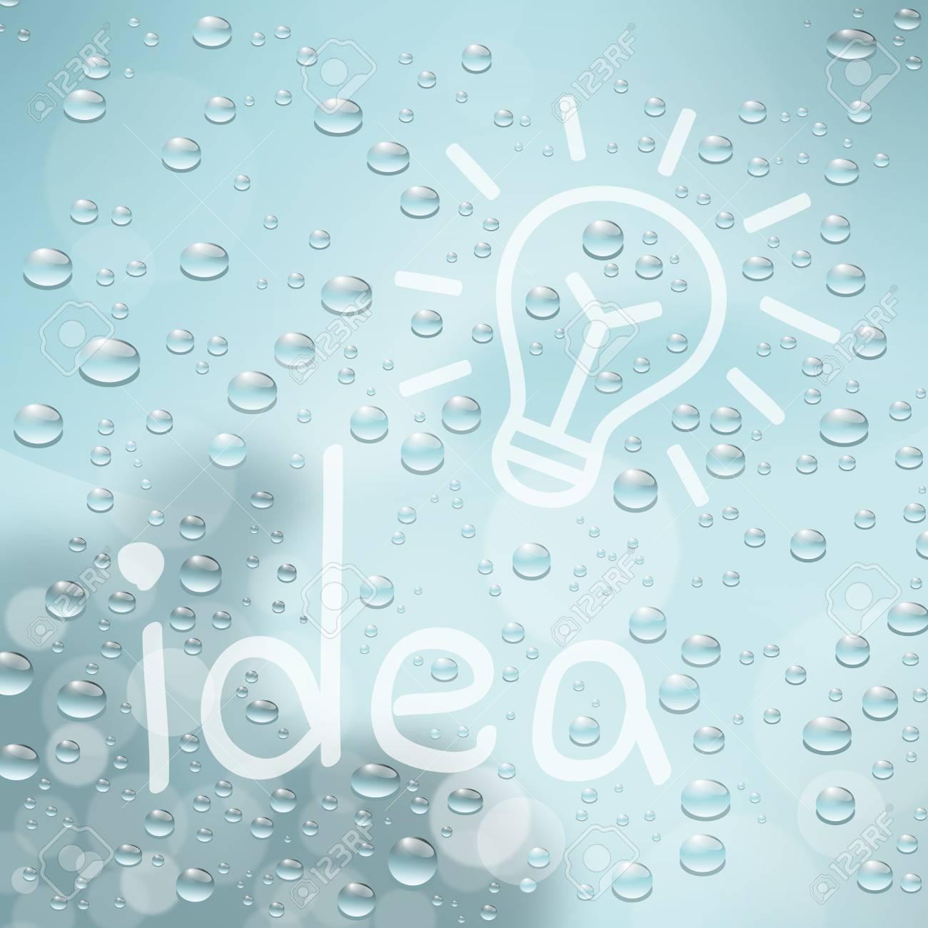 "inscription ""idea"" on glass with drops Stock Vector - 20777941"