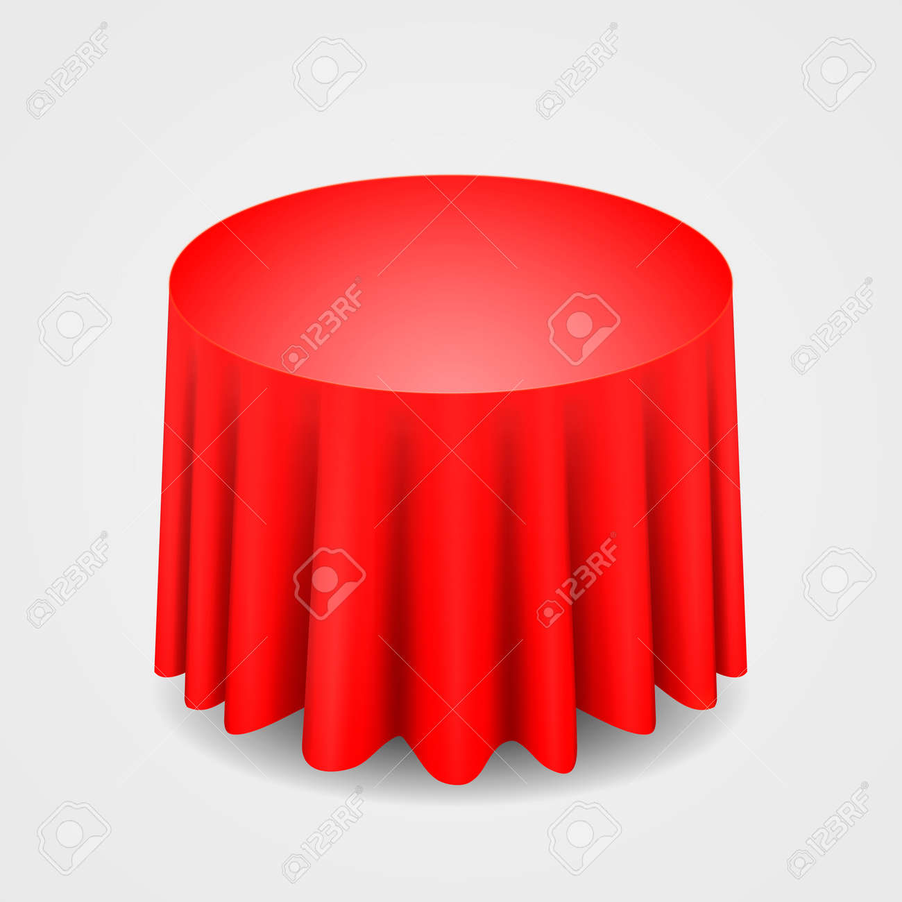 Red Round Tablecloth Table On A White Background Stock Vector   23589869