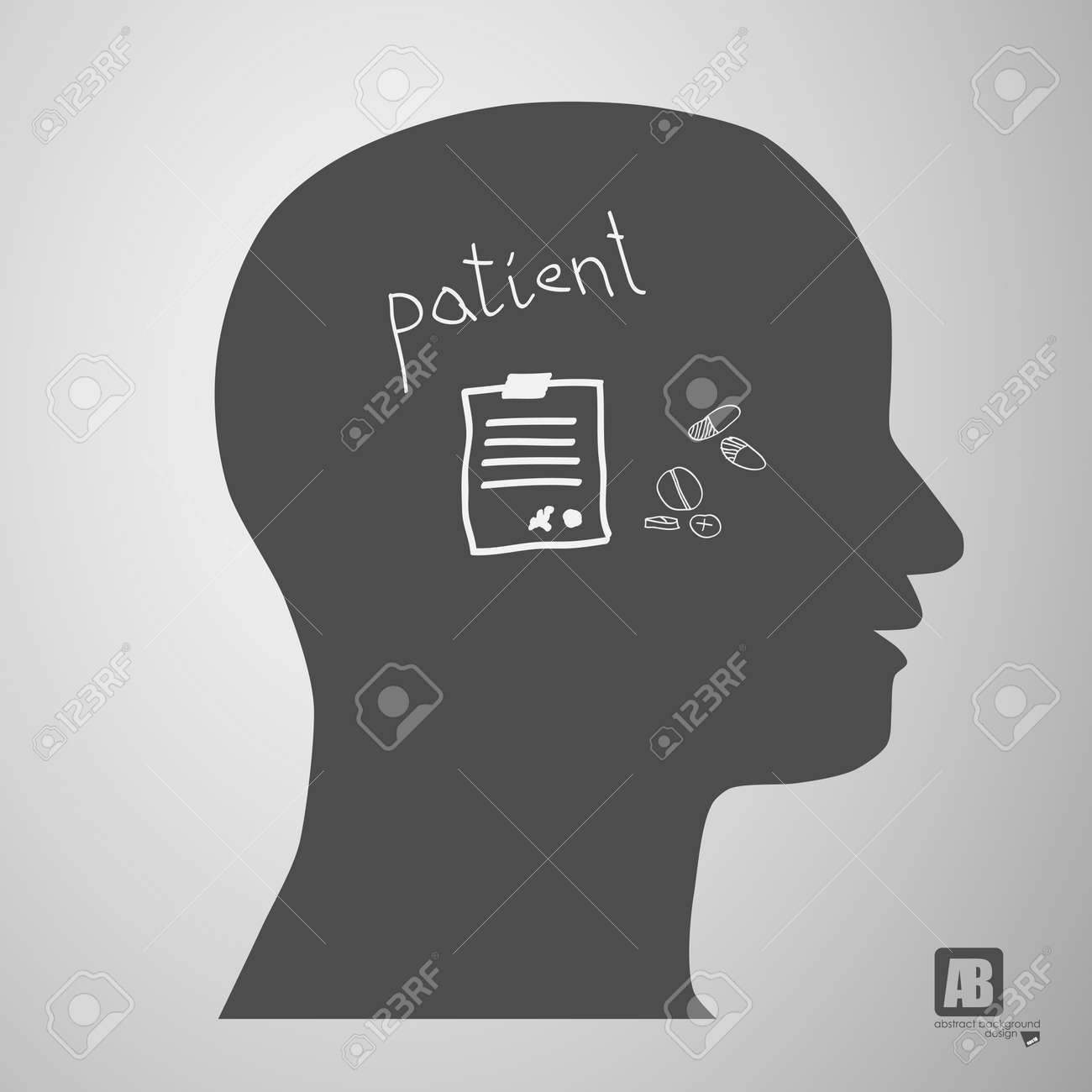 human head silhouette with medicine formulas Stock Vector - 23815253