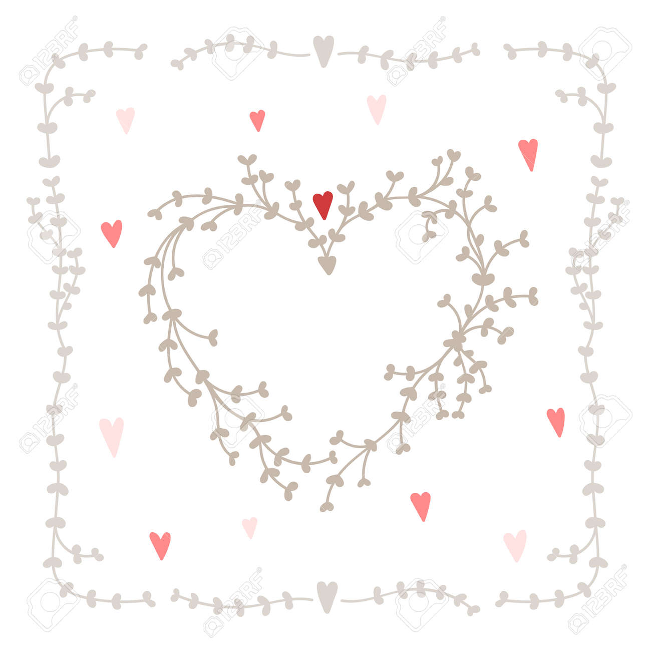 vector set with square wreath elements and hearts good for wedding
