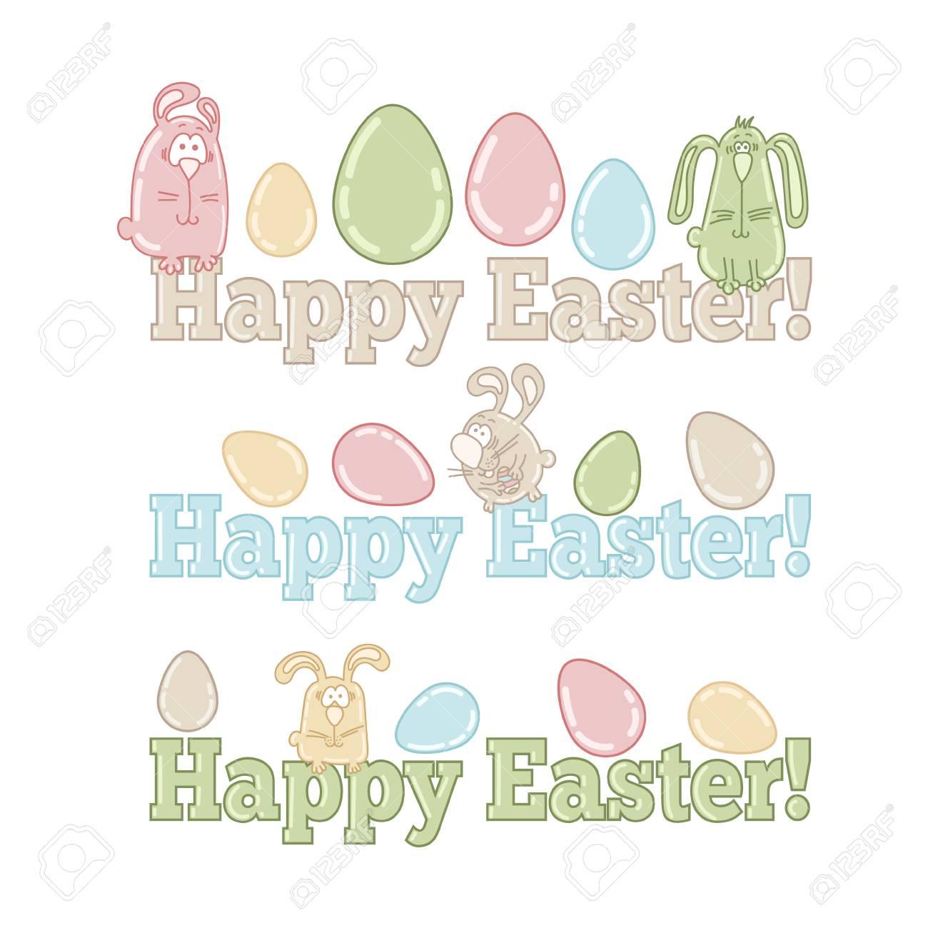 Wörter Frohe Ostern Mit Niedlichen Ostereier Und Hasen Lizenzfrei
