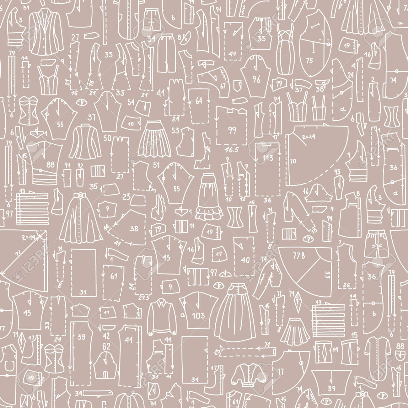 Seamless Hand Drawn Doodle Pattern With Clothes And Sewing Patterns ...