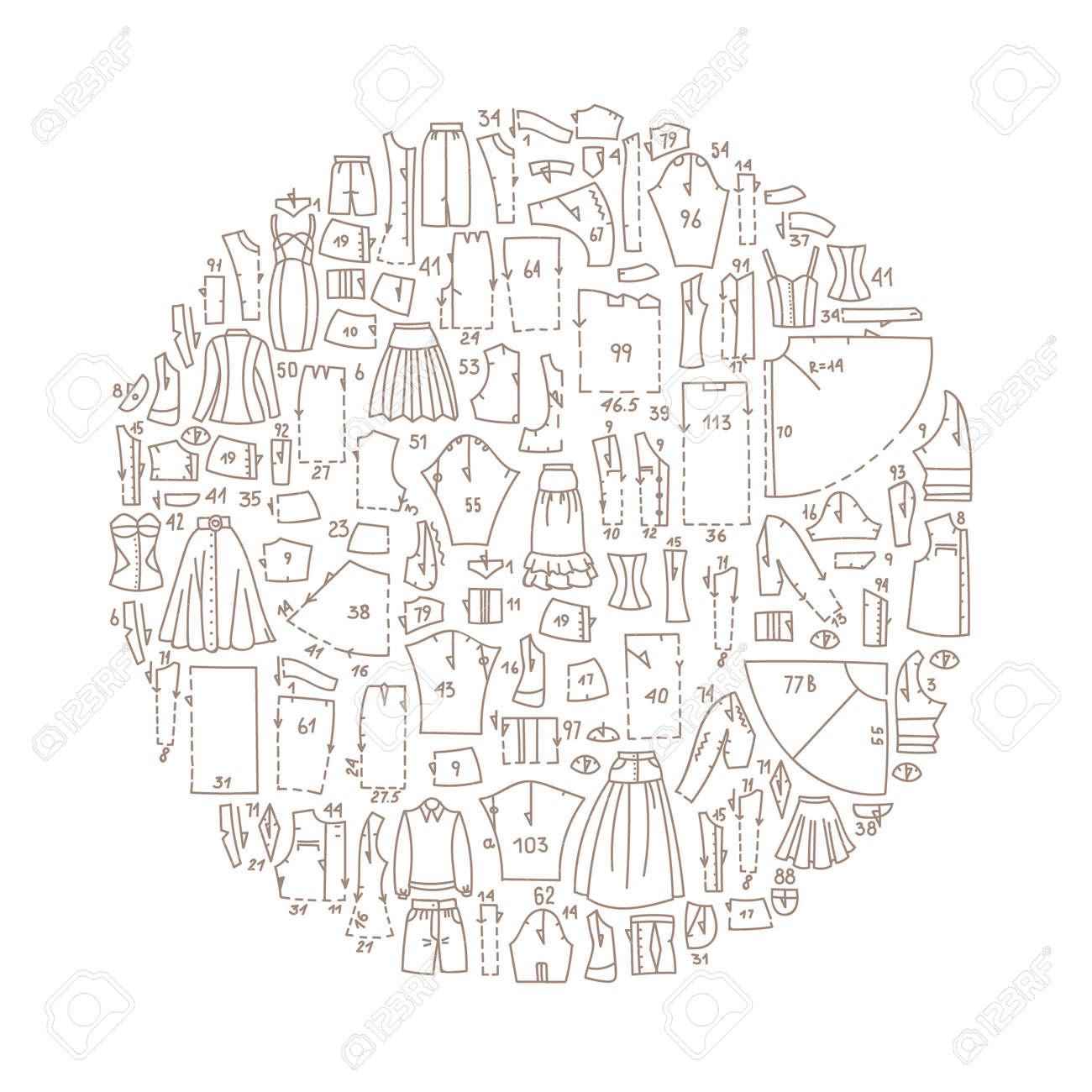 Hand Gezeichnet Doodle-Frame Mit Kleidung Und Schnittmuster ...
