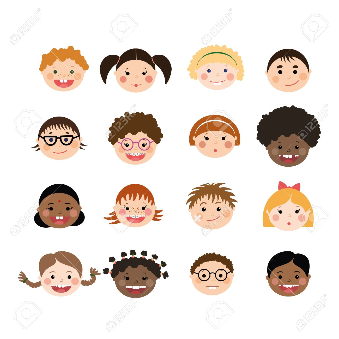 Vector Set Of Children Smiling Faces With Different Skin Color Boys And Girls