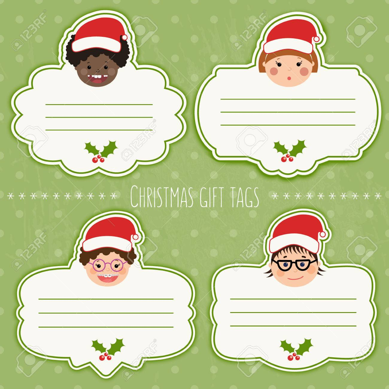 Vector set of funny christmas gift tags for presents with childrens vector vector set of funny christmas gift tags for presents with childrens smiling faces boys and girls with different color skin hairstyles negle Images