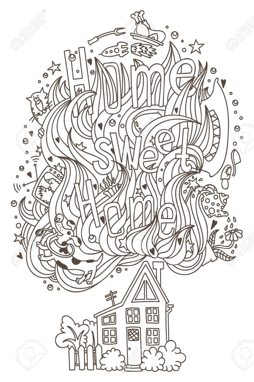 Home Sweet Monochrome Ornament For Adult Coloring Book