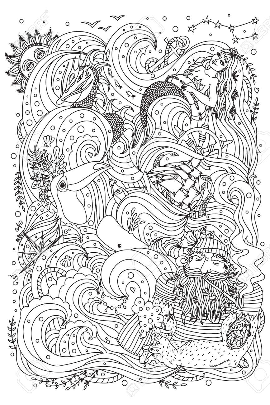 Monochrome Ornament For Adult Coloring Book. Sea Theme - Old ...