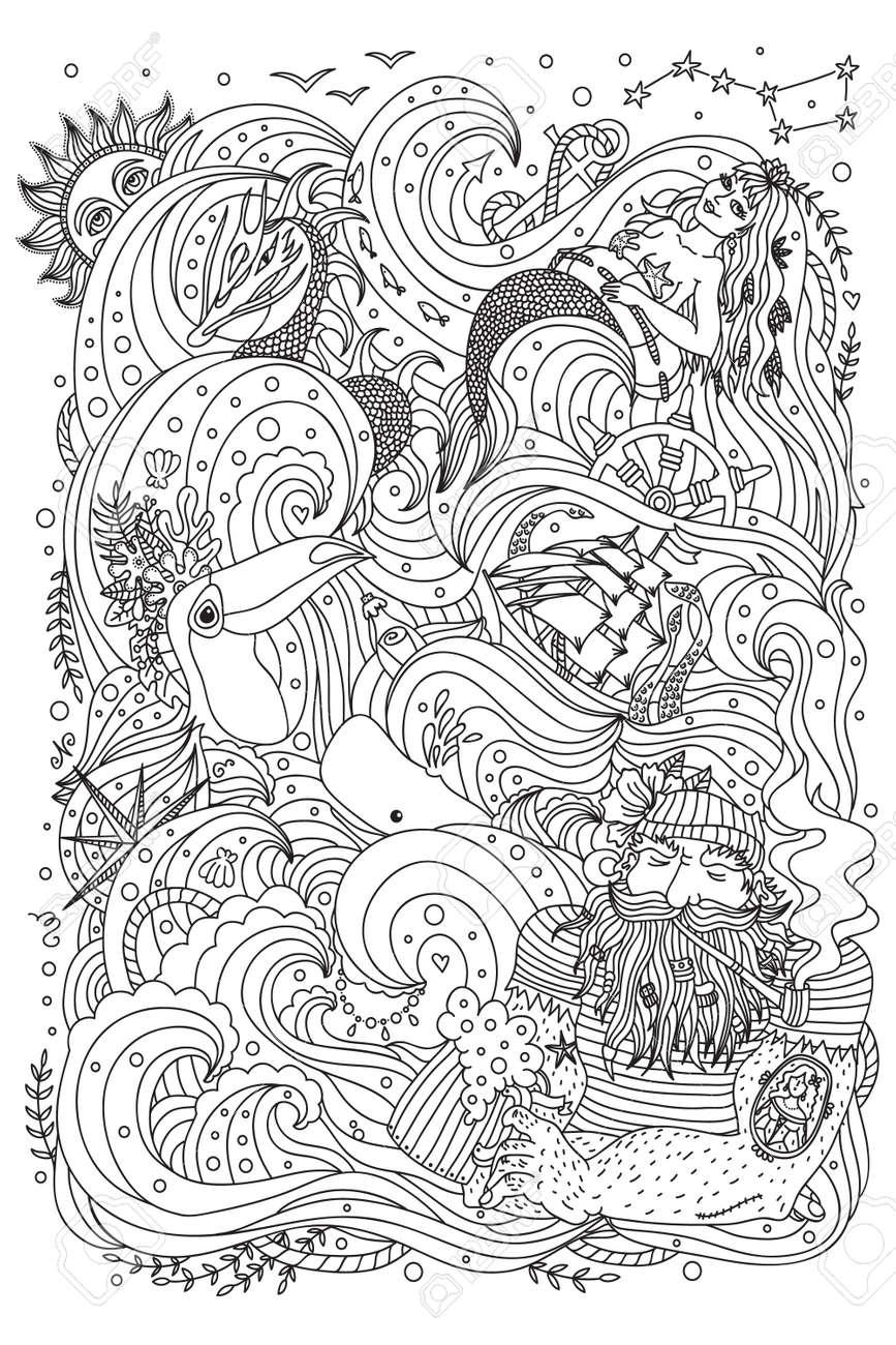 Ornamento Monocromático Por Un Libro De Colorear Para Adultos. El ...