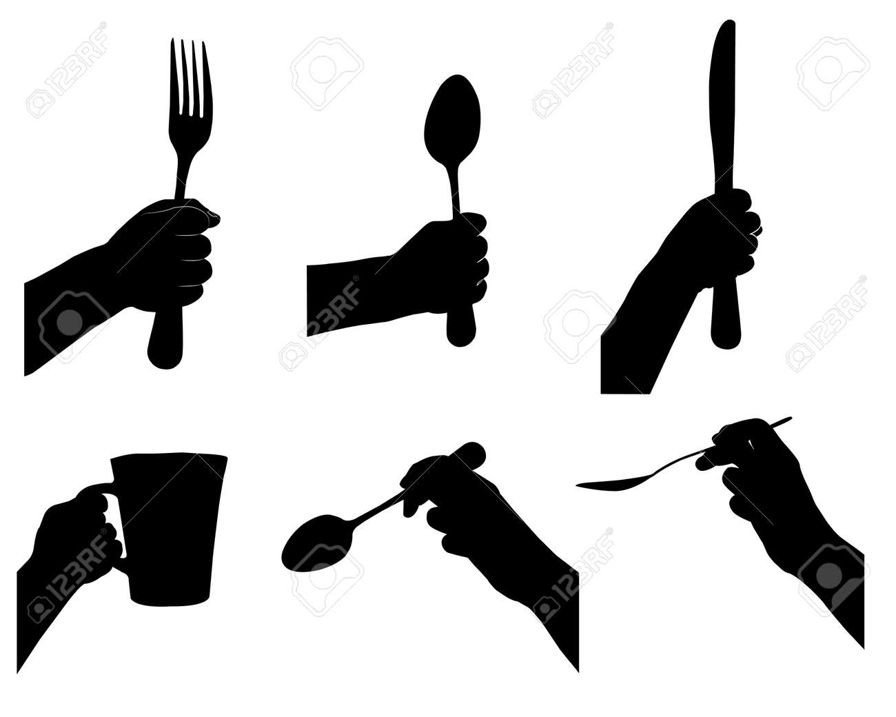 kitchen tools in hand silhouette vectors set royalty free cliparts rh 123rf com silhouette vector art free silhouette vectors free