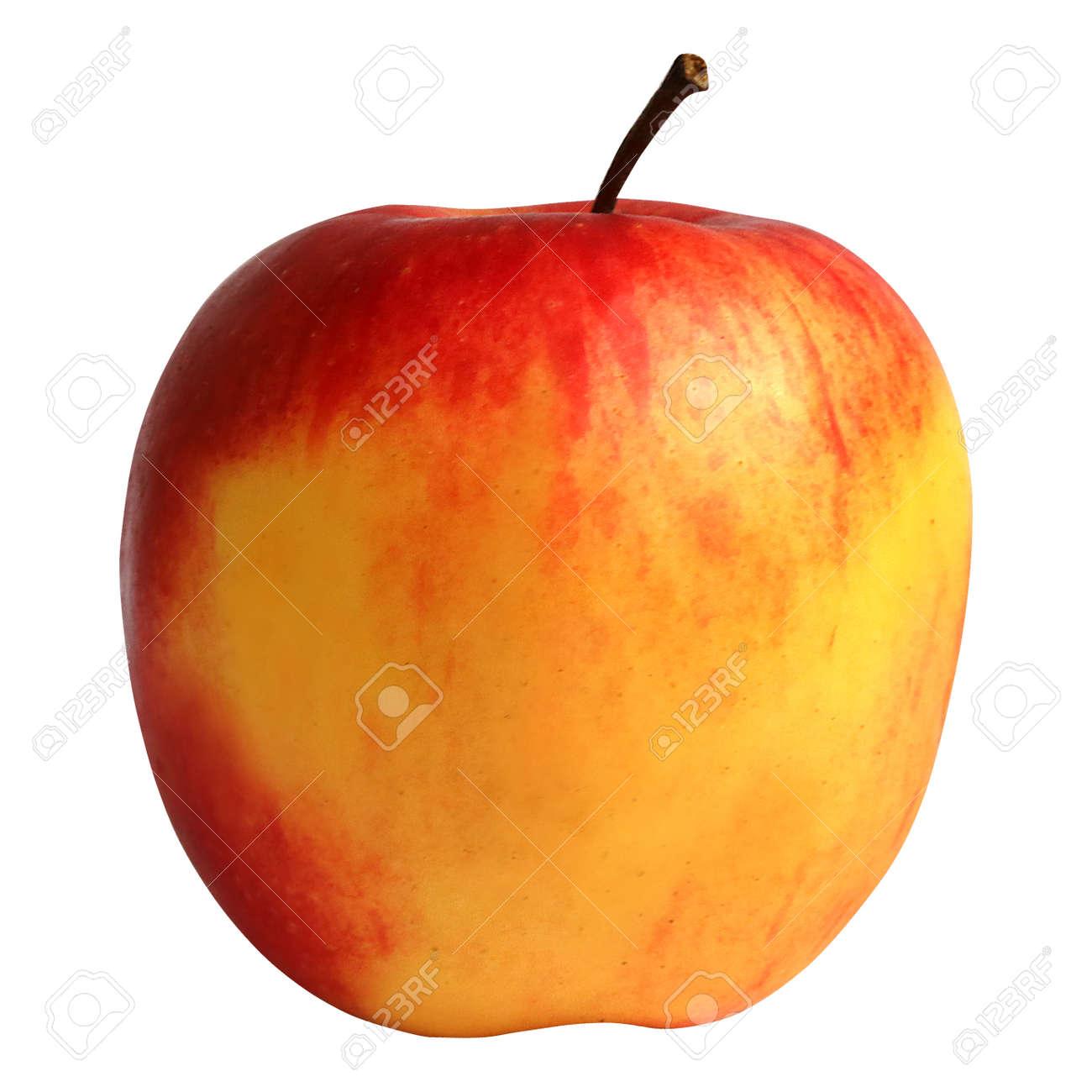 Ein Schöner Gelber Und Roter Apfel Ohne Hintergrund Lizenzfreie