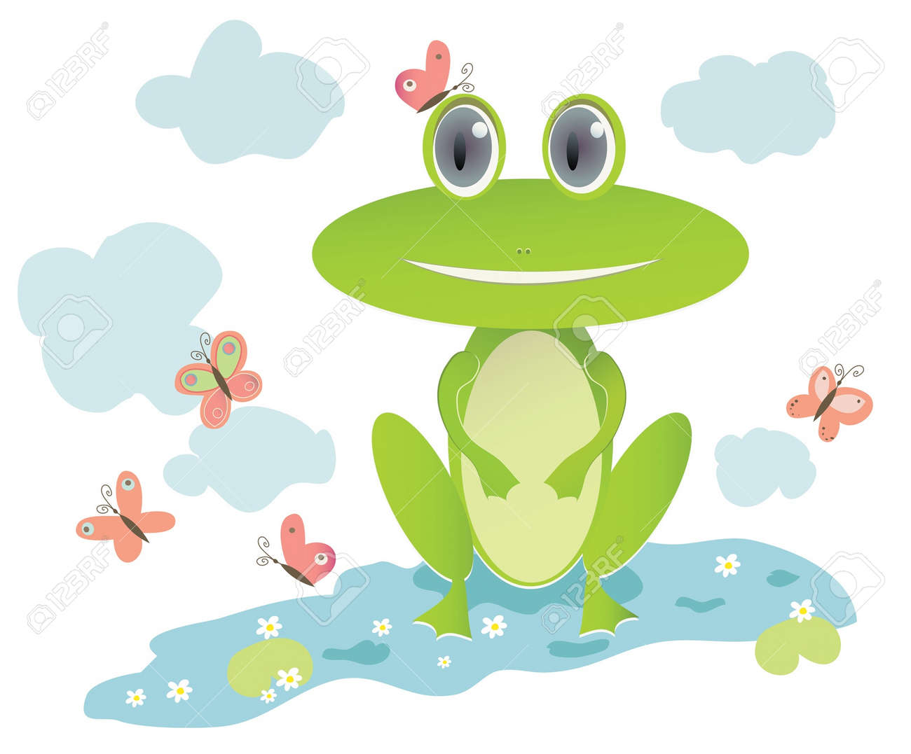 illustration of frog in lake with water flowers and butterflies