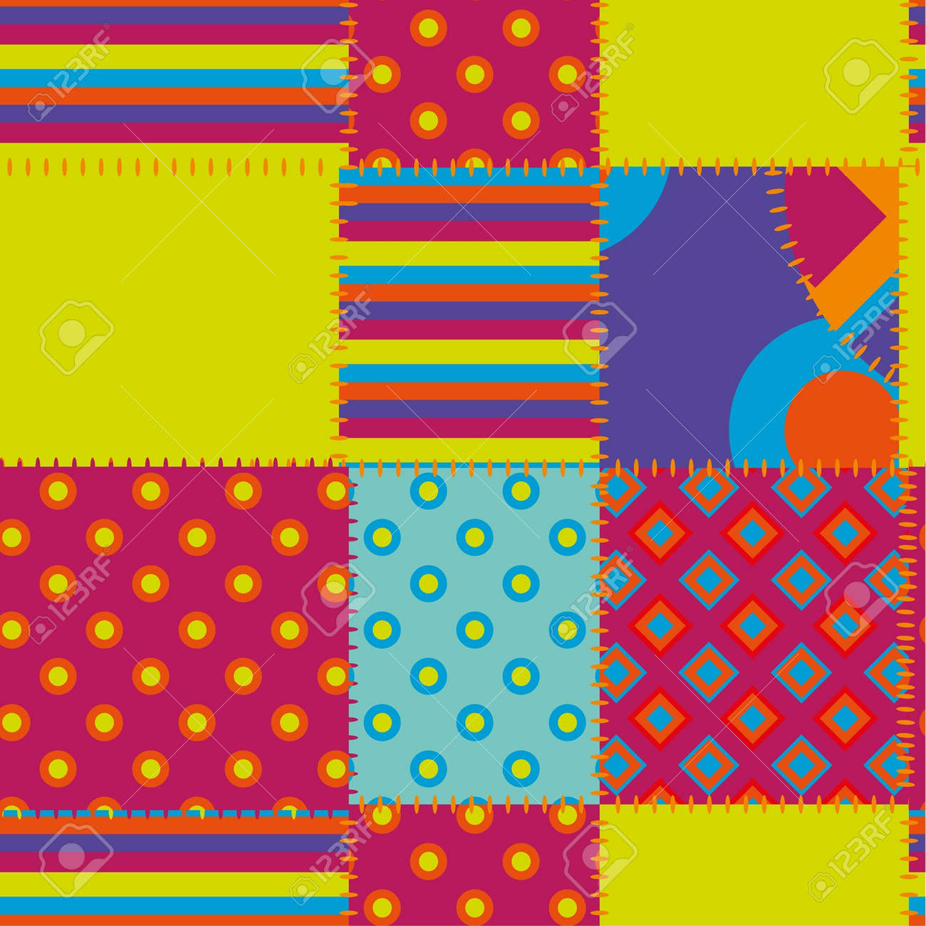 patchwork seamless ornament Stock Vector - 15350941